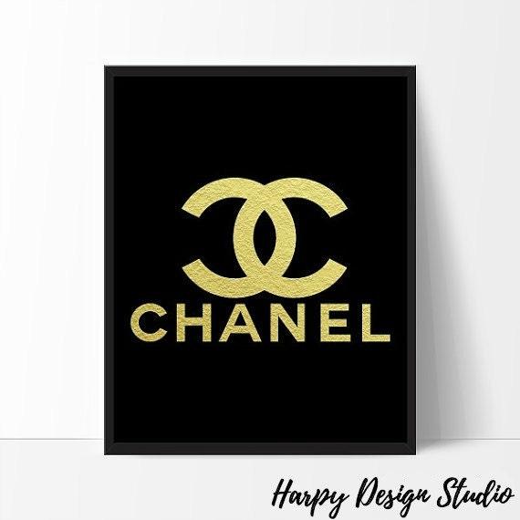 chanel logo fashion coco chanel print gold foil coco chanel. Black Bedroom Furniture Sets. Home Design Ideas