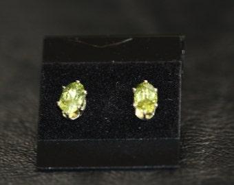 Peridot gemstone  sterling silver earrings