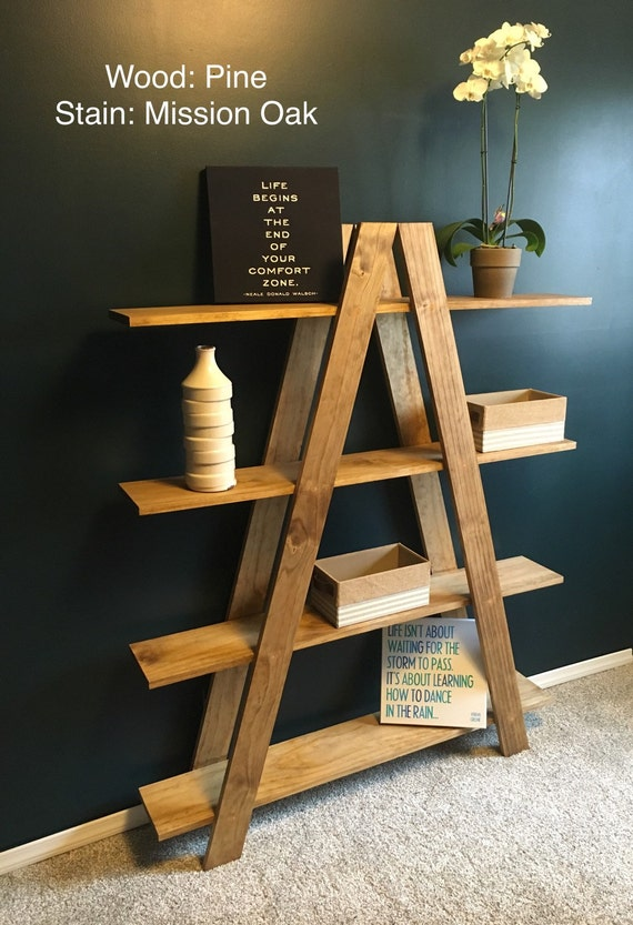 solid oak ladder shelf free shipping handmade. Black Bedroom Furniture Sets. Home Design Ideas