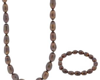 8-9MM Brown Freshwater Pearl Necklace And Bracelet