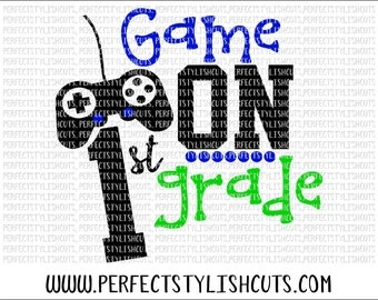 Game On 1st Grade SVG, DXF, EPS, png Files for Cutting Machines Cameo or Cricut - Back To School Svg, Boy Svg, 1st Day Of School Svg