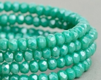 Czech Glass Beads - Czech Glass Rondelles - Turquoise Green Opaque with Luster Beads - 3x2mm - 50 Beads
