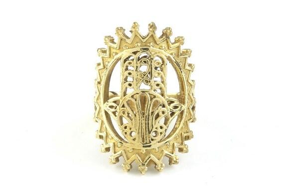 Hamsa Brass Ring, Hand Of Fatima, Ethnic Ring, Gypsy Jewelry, Hippie Jewelry, Sacred Geometry, Festival Jewelry, Boho
