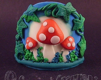 Toadstool Forest Candle Holder Glows in the Dark. Fairy Fantasy Tea Light Holder hand sculpted with polymer clay