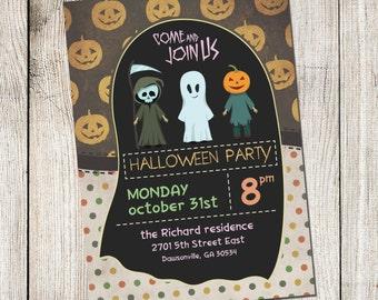 Halloween Party Invitations. Halloween Invitation. Printable Scary Invitation. Kids Halloween Invitation. Printable Invitation