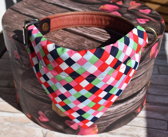 """Bandana """"Red Black Chequered"""" Bandanas for small or medium sized dogs cats"""