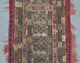 Ottoman Greek Embroidery Prayer rug – 24″ x 51″ - Free shipping!
