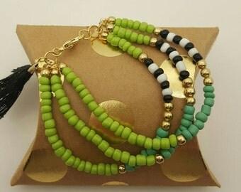 Green Racer Three Piece Bracelet