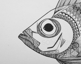 Black and White Geometric Zentangle Nautical Fish Illustration - A4 Art Print