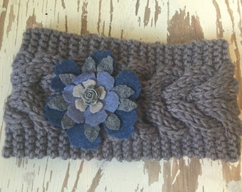 Ladies Knitted and Embellished Earwarmer / Headwarmer in Grey with Blue