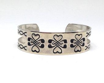 Darling High Embossed Stamped Floral Flower Silver Tone Vintage Estate Cuff Bracelet