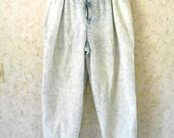Rare Vtg 90s X-AM Jeans Acid Stone Washed Elastic Waist Cuffs Cotton Denim Hipster Hip Hop Retro High Waisted Mens Womens 31 Waist