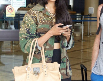 Fully Studded Vintage Urban Camouflage Army Shirt Military Jacket
