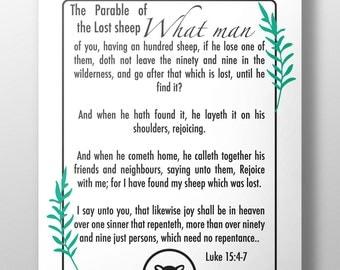 The Parable of the lost sheep printable print, Lost Sheep print, Luke 15:4-7, Christian wall art, bible verse, Jesus parable print, #L83