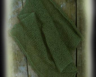 Olive Mohair Newborn Wrap, Baby Boy Photo Prop, Hand Knit Newborn Wrap, Newborn Photography Prop, Mohair Baby Wrap
