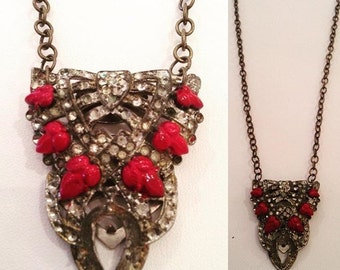 Antique Enamel and Diamond (paste) Pendant