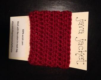 Crochet Java Jacket, Cup Cozy - Redwood