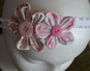 pink white and grey flower headband
