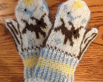 Wool Puppy Dog Mittens for Babies/Kids/Child/Toddler with Brown Dog and Blue Bird