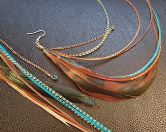 Long Turquoise and natural brown grizzly and rooster feather earrings