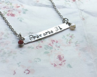 Mothers Day Hand Stamped Silver Bar Proverbs 31 Family Birthstone Necklace Bible Verse