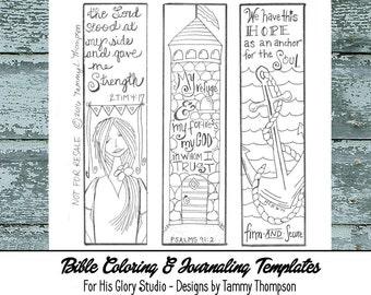 Bible Journaling Strength & Hope #5 - bible journaling template, doodles, PDF, printable sketches, bookmarks, coloring, bible verses