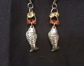 phish-orange/white earrings