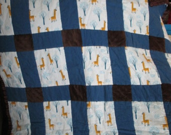 blue and brown giraffe baby quilt