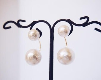 White cotton pearl /2 way earrings. Wedding Jewelry. Bridal. Bridesmaid gift
