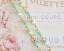 vintage style dainty wire wrapped rosary chain glass cream pearls peridot opal seed beads gold chain 1 foot no.1148-6