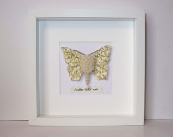 Swallow-Tailed Moth. Framed textile soft sculpture wall art. Faux taxidermy entomology