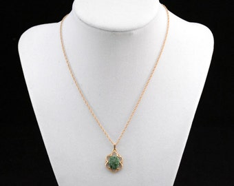 Gold Malacite Necklace, Green Stone Pendant Necklace, Green Pendant Necklace               J419