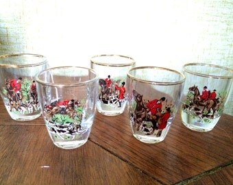 Vintage Fox Hunting Scene Shot Glasses