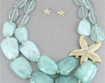 Mint and Gold Beaded Starfish Statement Necklace