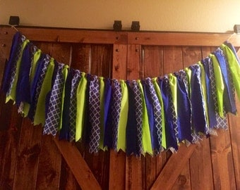 Green & Blue Fabric Garland