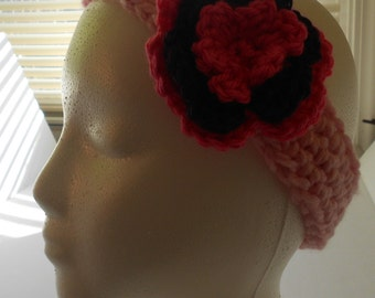Crocheted Pink Headband with Flower
