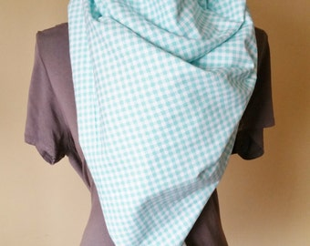 Teal Plaid Blanket Scarf