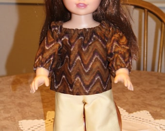 Brown long-sleeved blouse with yellow belled pants