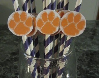 Party straws, paper party straws, Clemson Tigers, football, sport theme, basketball