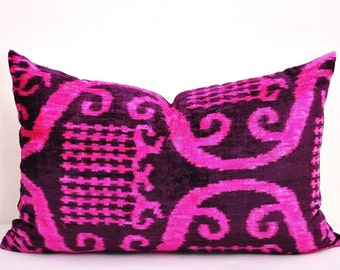 Pink Velvet Pillow Cover Polka Dot Pink Brown By