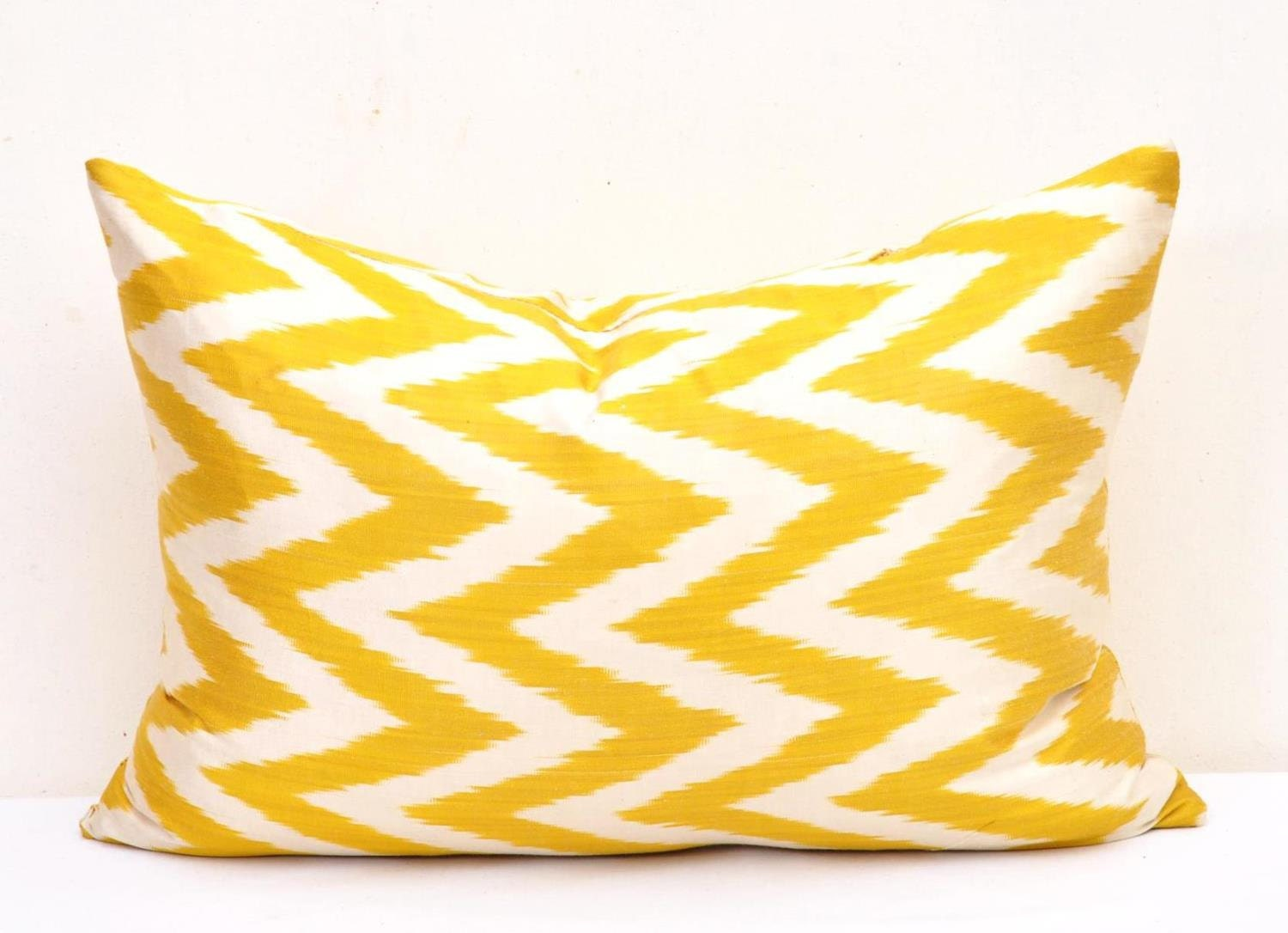 Yellow Throw Pillow Yellow Decorative Pillow by DecorIkatPillows