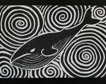 Whale & Waves Linocut Print