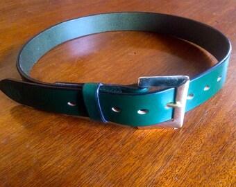 "Handmade Leather Belt 32""- 34"" waist / British Racing Green"