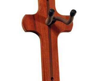 Guitar Wall Hanger-Mahogany cross for acoustic, electric & classical guitars. Unique gift idea/guitar/him/her/birthday