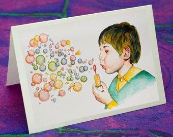 BUBBLES GREETING CARD - Hand made, original design.