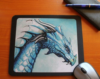 Mousepad-Mouse pad, Fantasy art mouse pad,dragon,water dragon mouse pads, Desk Accessories,elf mouse pad, art pads, blue,gift ideas