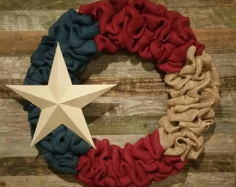 Rustic patriotic burlap wreath! Burlap wreath, patriotic wreath, veterans day, Memorial day, fourth of July, flag day, red white and blue!