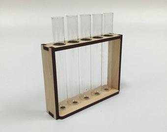 Test Tube and Timber Bud Vase - 5 Tubes