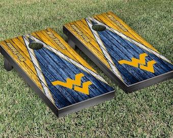 West Virginia University Mountaineers WVU Cornhole Bag Toss Game Set Triangle Designs