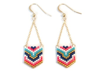 Beads Miyuki pink and turquoise geometric earrings